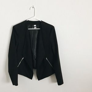 Black drape front blazer